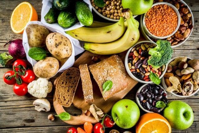 Foods in a vegan diet